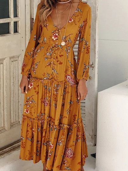 Yellow Cotton Floral Print Long Sleeve Bohemian Maxi Dress
