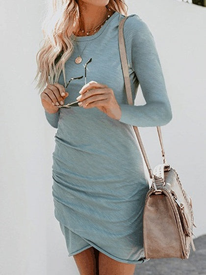 Blue Cotton Long Sleeve Chic Women Bodycon Mini Dress