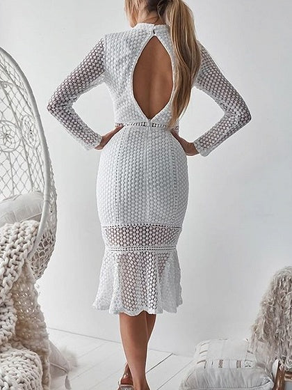 White Open Back Long Sleeve Chic Women Lace Bodycon Dress