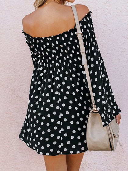 Dark Blue Polka Dot Off Shoulder Flare Sleeve Chic Women Mini Dress