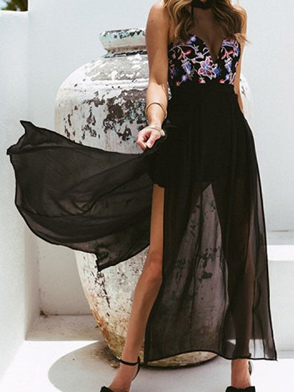 Black Chiffon Print Detail Sleeveless Chic Women Maxi Dress