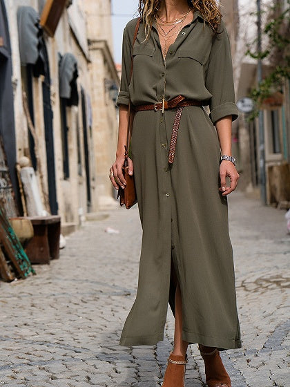 Army Green V-neck Thigh Split Long Sleeve Chic Women Maxi Dress