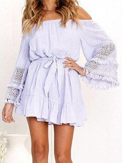 Light Purple Off Shoulder Tie Waist Flare Sleeve Chic Women Mini Dress