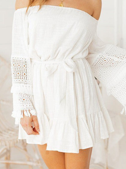White Off Shoulder Tie Waist Flare Sleeve Chic Women Mini Dress