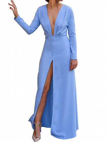Blue Plunge Thigh Split Front Long Sleeve Chic Women Maxi Dress