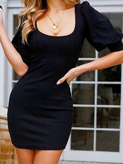 Black Puff Sleeve Chic Women Bodycon Mini Dress