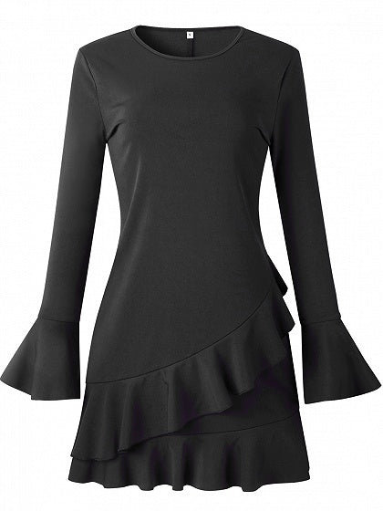Black Women Mini Dress Crew Neck Ruffle Trim Flare Sleeve Chic