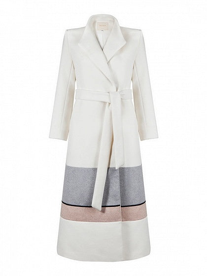 White Contrast Lapel Tie Waist Long Sleeve Chic Women Wool Blend Coat