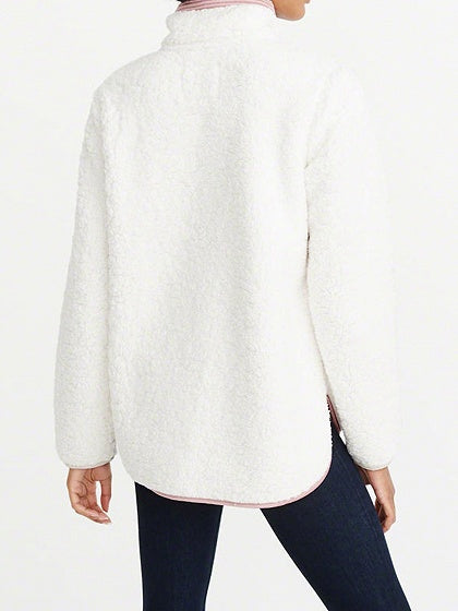 White Women Hoodie Contrast Faux Shearling Lapel Long Sleeve