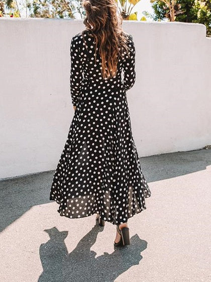 Black Plunge Polka Dot Print Long Sleeve Chic Women Maxi Dress