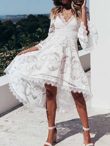 White V-neck Flare Sleeve Chic Women Lace Hi-Lo Dress