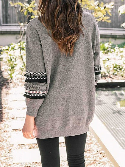 Gray Open Front Folk Panel Pocket Detail Long Sleeve Knit Cardigan