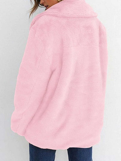 Pink Lapel Long Sleeve Chic Women Fluffy Coat