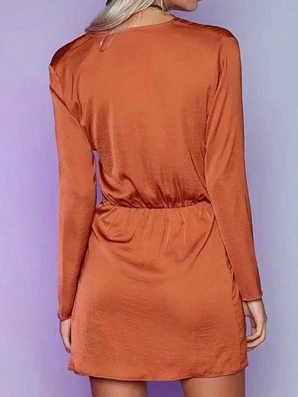 Orange Plunge Split Front Long Sleeve Chic Women Mini Dress