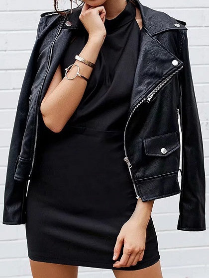 Black Lapel Letter Embroidery Zip Front Long Sleeve PU Jacket