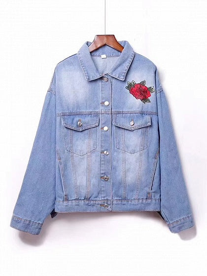 Blue Lapel Floral And Crane Embroidery Long Sleeve Denim Coat