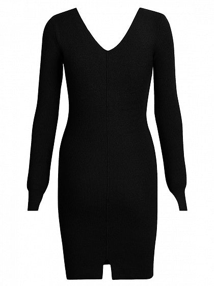 Black Women Bodycon Mini Dress Ribbed V-neck Long Sleeve Chic