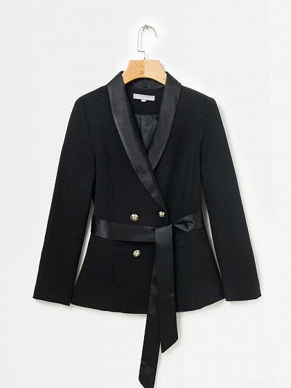 Black Blazer Lapel Double Breasted Front Tie Waist Long Sleeve