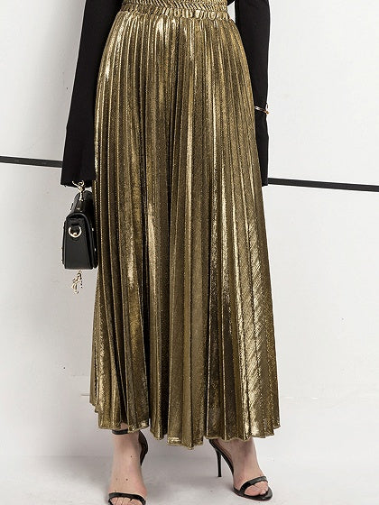 Golden Maxi Skirt Cotton Blend High Waist Pleated Detail