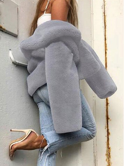 Gray Lapel Long Sleeve Chic Women Fluffy Coat