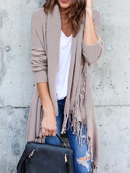 Beige Open Front Tassel Trim Long Sleeve Wool Cardigan