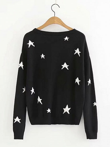 Black Cotton Blend Star Print Long Sleeve Sweater