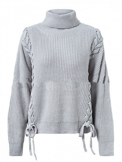Gray High Neck Lace Up Side Long Sleeve Knit Sweater