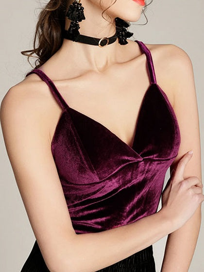 Burgundy Velvet V-neck Chic Women Crop Cami Top