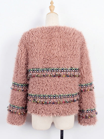Pink Open Front Folk Tassel Pendant Long Sleeve Faux Fur Coat