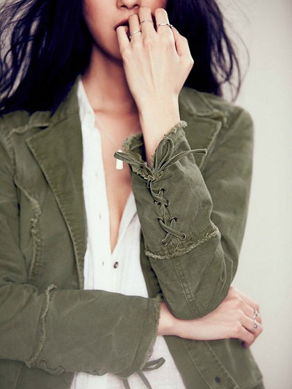 Green Cotton Lapel Eyelet Lace Up Cuff Ruffle Trim Long Sleeve Coat