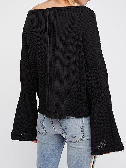 Black Cotton Blend V-neck Flare Sleeve Chic Women Sweater