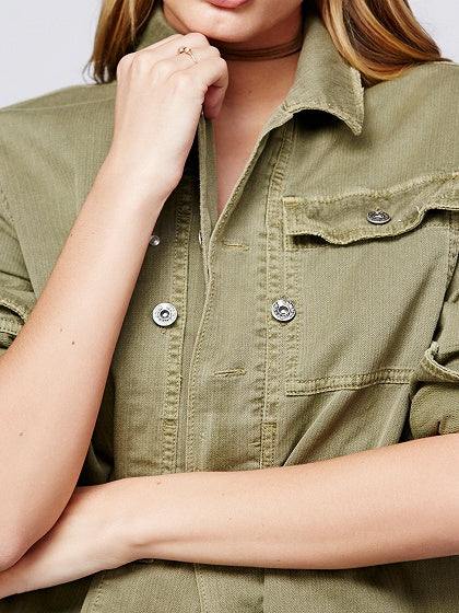 Green Cotton Blend Patch Detail Long Sleeve Jacket
