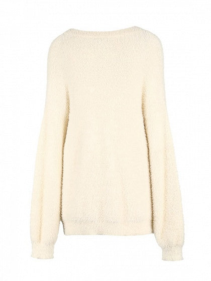 White Crew Neck Long Sleeve Chic Women Knit Sweater