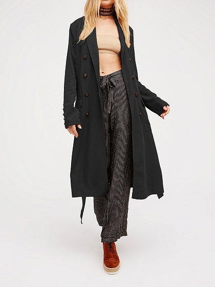 Black Cotton Lapel Pocket Detail Long Sleeve Longline Coat