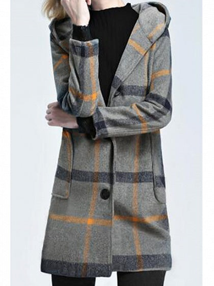 Yellow Plaid Cotton Button Placket Front Long Sleeve Hooded Coat