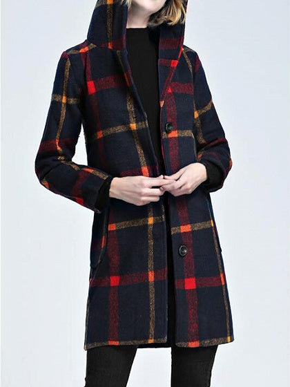 Red Plaid Cotton Button Placket Front Long Sleeve Hooded Coat