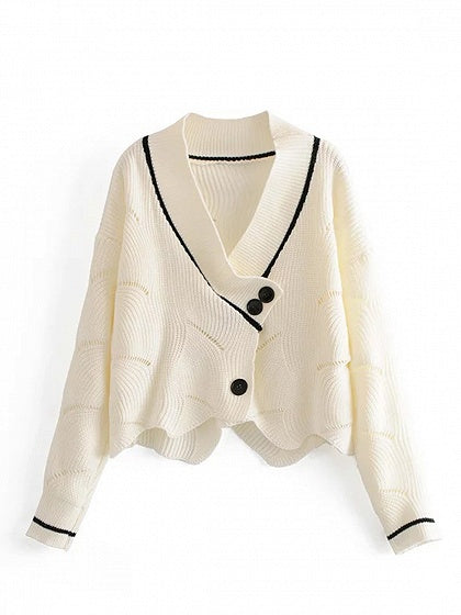 White V-neck Button Front Long Sleeve Knit Crop Sweater