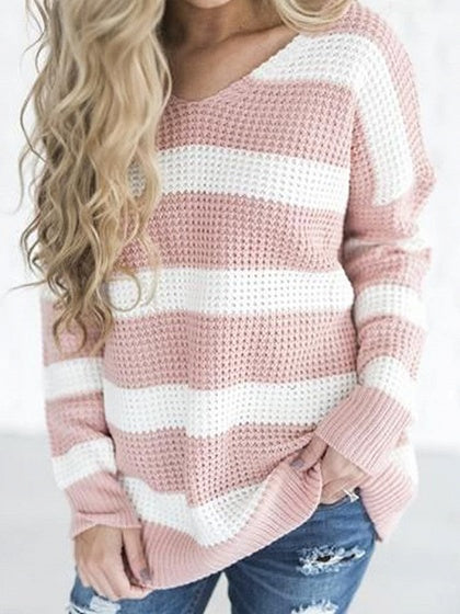 Pink Stripe V-neck Long Sleeve Knit Sweater