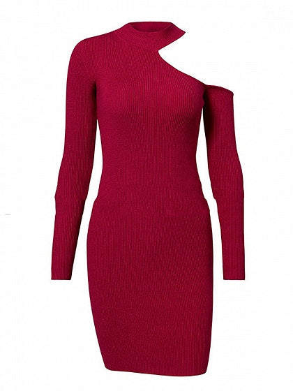 Red Mini Dress Cold Shoulder Long Sleeve Knit Bodycon