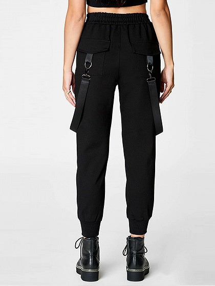 Black Cotton High Waist Buckle Strap Pocket Detail Women Pants