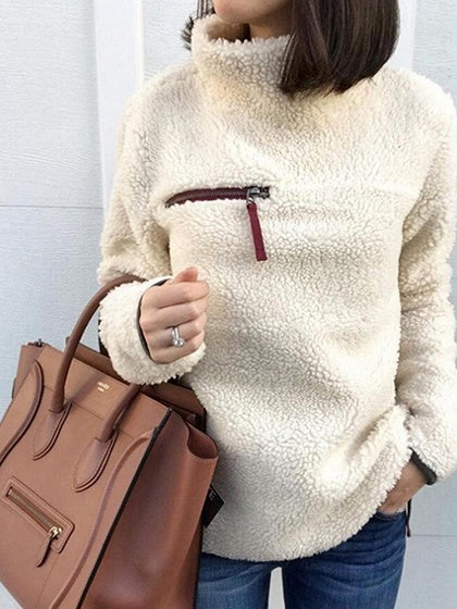 Light Beige High Neck Long Sleeve Women Fleece Sweatshirt