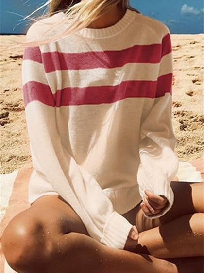 Hot Pink Stripe Panel Long Sleeve Chic Women Sweater