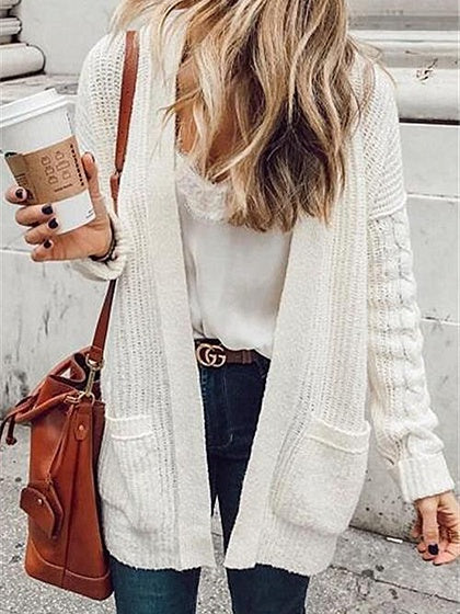 White Open Front Pocket Detail Long Sleeve Knit Cardigan