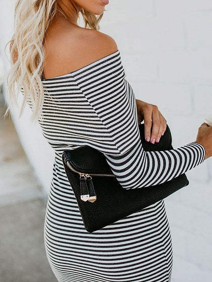 Black Stripe Cotton Off Shoulder Long Sleeve Women Bodycon Dress