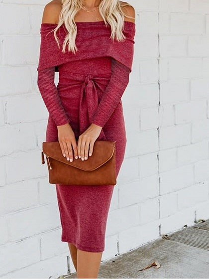 Red Cotton Off Shoulder Long Sleeve Women Bodycon Dress