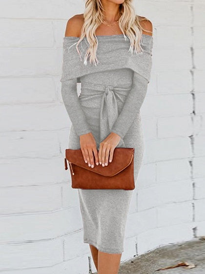 Gray Cotton Off Shoulder Long Sleeve Women Bodycon Dress