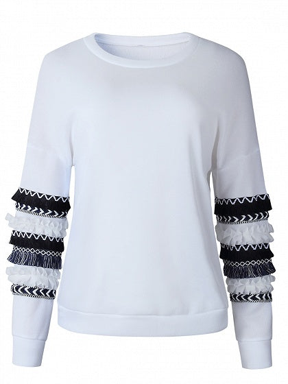 White Tassel And Frill Trim Panel Long Sleeve Women Sweatshirt