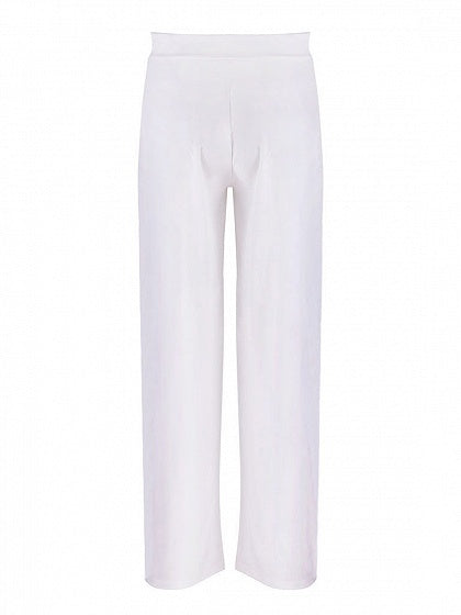 White High Waist Thigh Split Side Women Wide Leg Pants