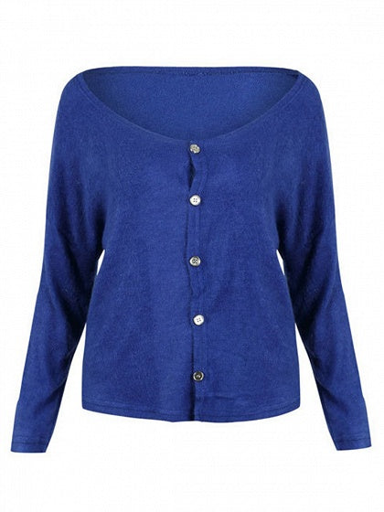 Blue V-neck Button Placket Front Long Sleeve Knit Cardigan