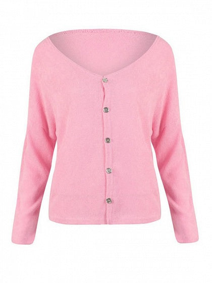 Pink V-neck Button Placket Front Long Sleeve Knit Cardigan